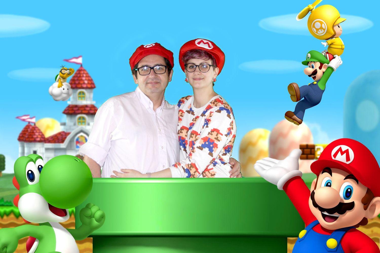 Thème personnalisé Super Mario avec accessoires fournis (casquette Mario).
